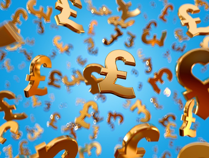 Golden pound sterling signs raining.